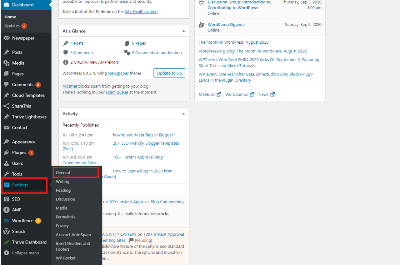 how to change site title in wordpress in settings